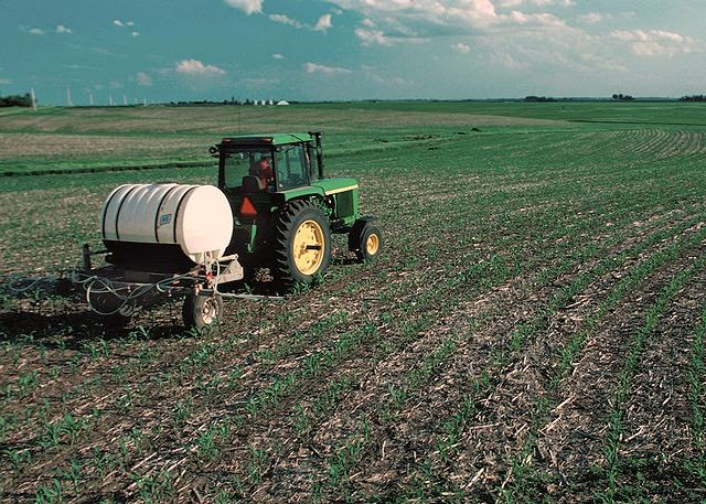 Photo of tractor applying fertiliser to an untilled field