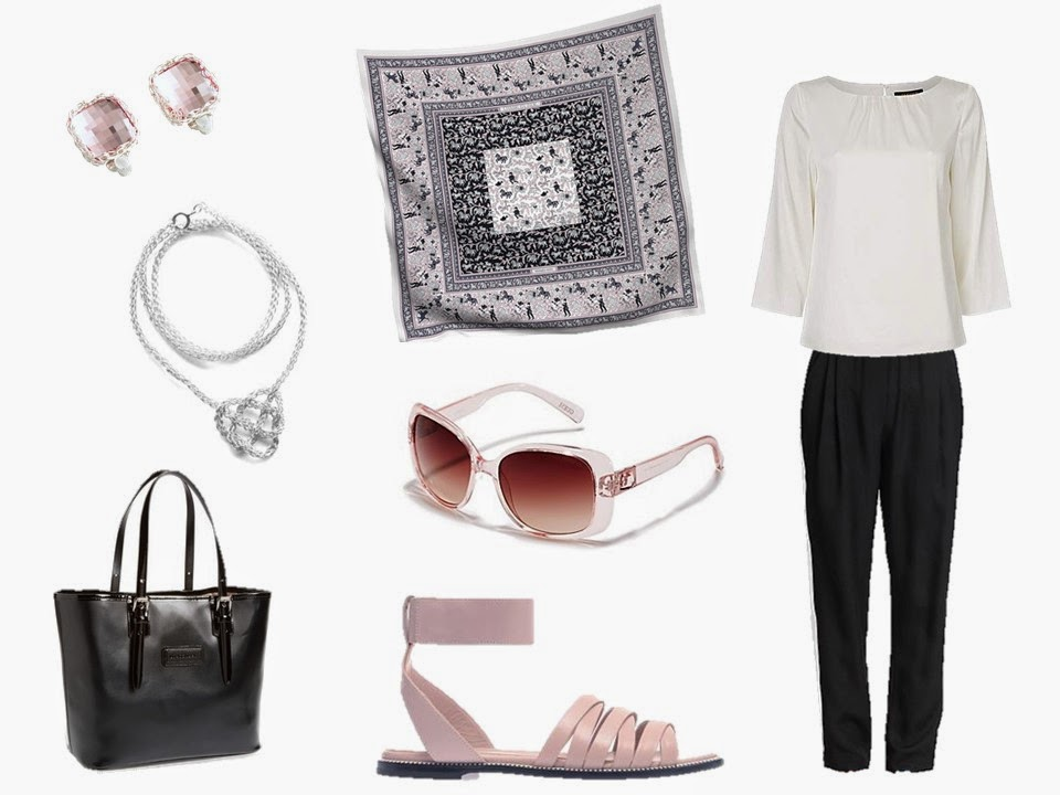 Hermes Chasse en Inde with white silk blouse, black silk pants and related rose accessories