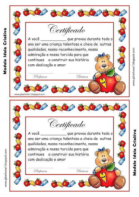 Certificado de Formatura  -  Educação Infantil