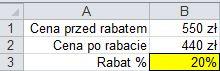 Jaki to rabat - wynik, format procentowy