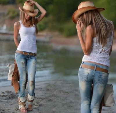 Cowboy hat, ripped jeans and white shirt for ladies