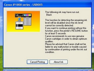 Error Cartidge Run Out Printer Gambaran Untuk Canon
