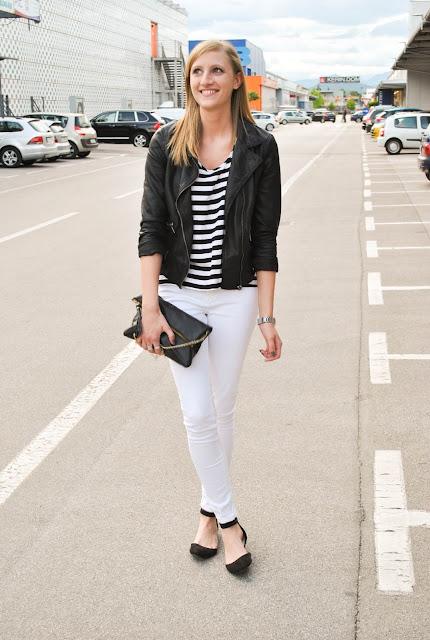 monochrome look, white pants look, zara leather jacket