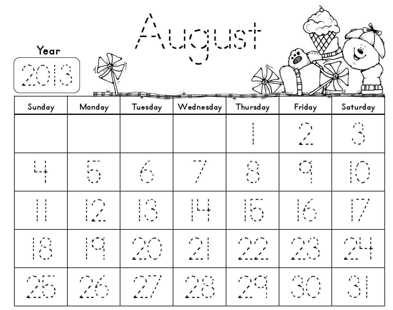 Mrs. Solis's Teaching Treasures: Traceable Monthly Calendars Freebie