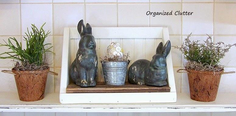 Spring Bunnies and Peat Pot Vignette www.organizedclutterqueen.blogspot.com