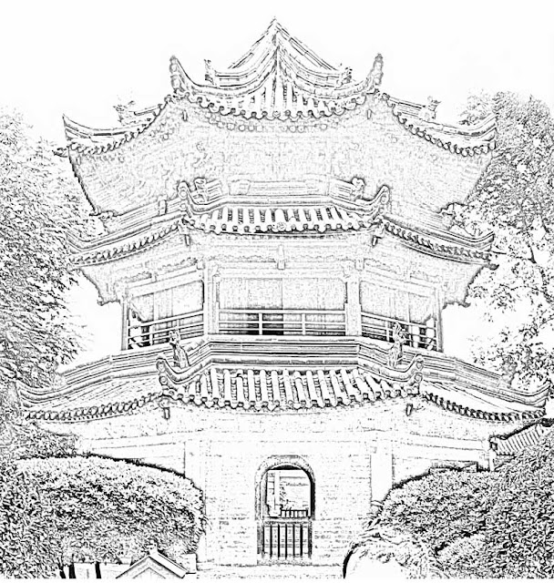 sketch of a Chinese temple building