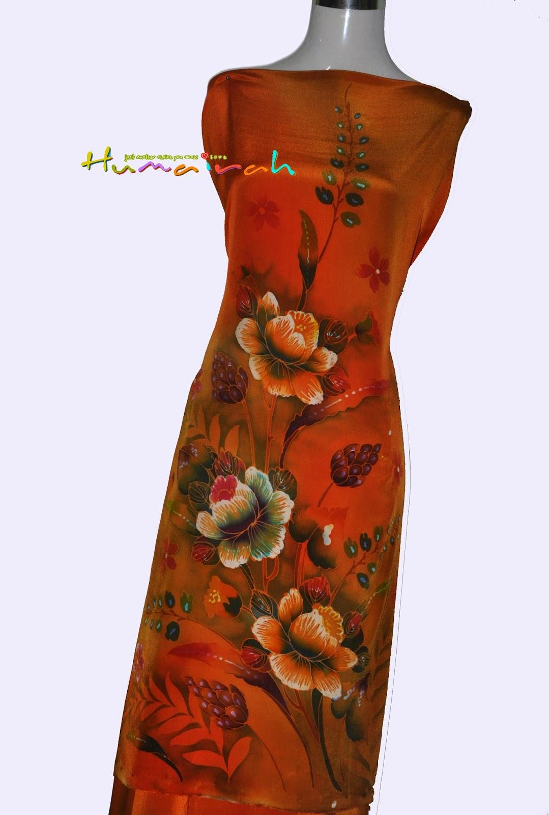 CX Batik Sutera Handmade Exclusive Bunga Ros Oren