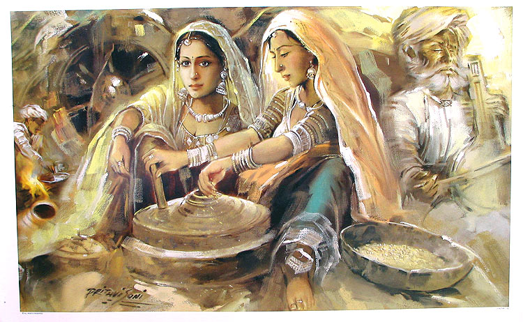 My dreams rajasthani girls art paintings for Art of indian cuisine