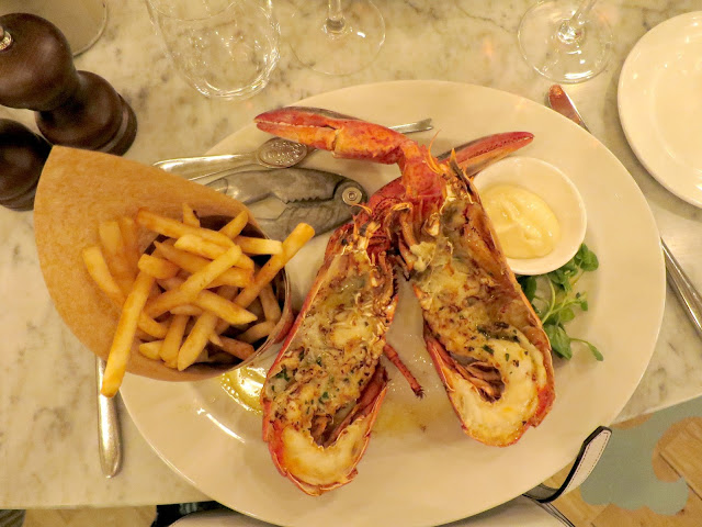 Loch Fyne Restaurant Seafood Dish Lobster in Garlic Butter and French Fries