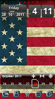 Screenshots of the USAflag Theme GO Launcher EX for Android mobile, tablet, and Smartphone.