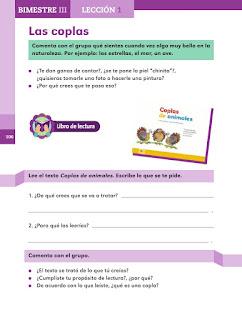 Apoyo Primaria Español 2do grado Bloque 3 lección 1 Las coplas