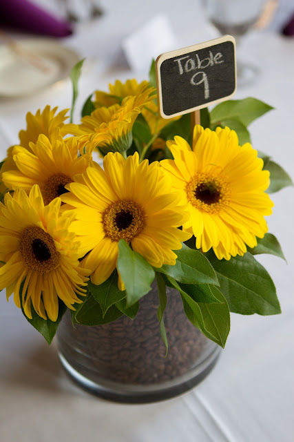 Wedding Brunch Reception - Yellow Gerbera Daisy Centerpiece with Coffee Beans by Lane & Lenge - Photo Courtesy of Brian Samuels Photography