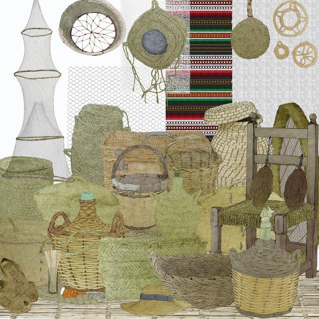 cesteria, fibras, tejer, tramar, trenzar, objetos, museo etnologia,Valencia, dibujos