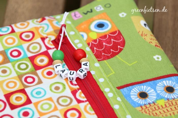 Nähen fürs Baby | Windeltasche mit Eulen - Reißverschlusstasche