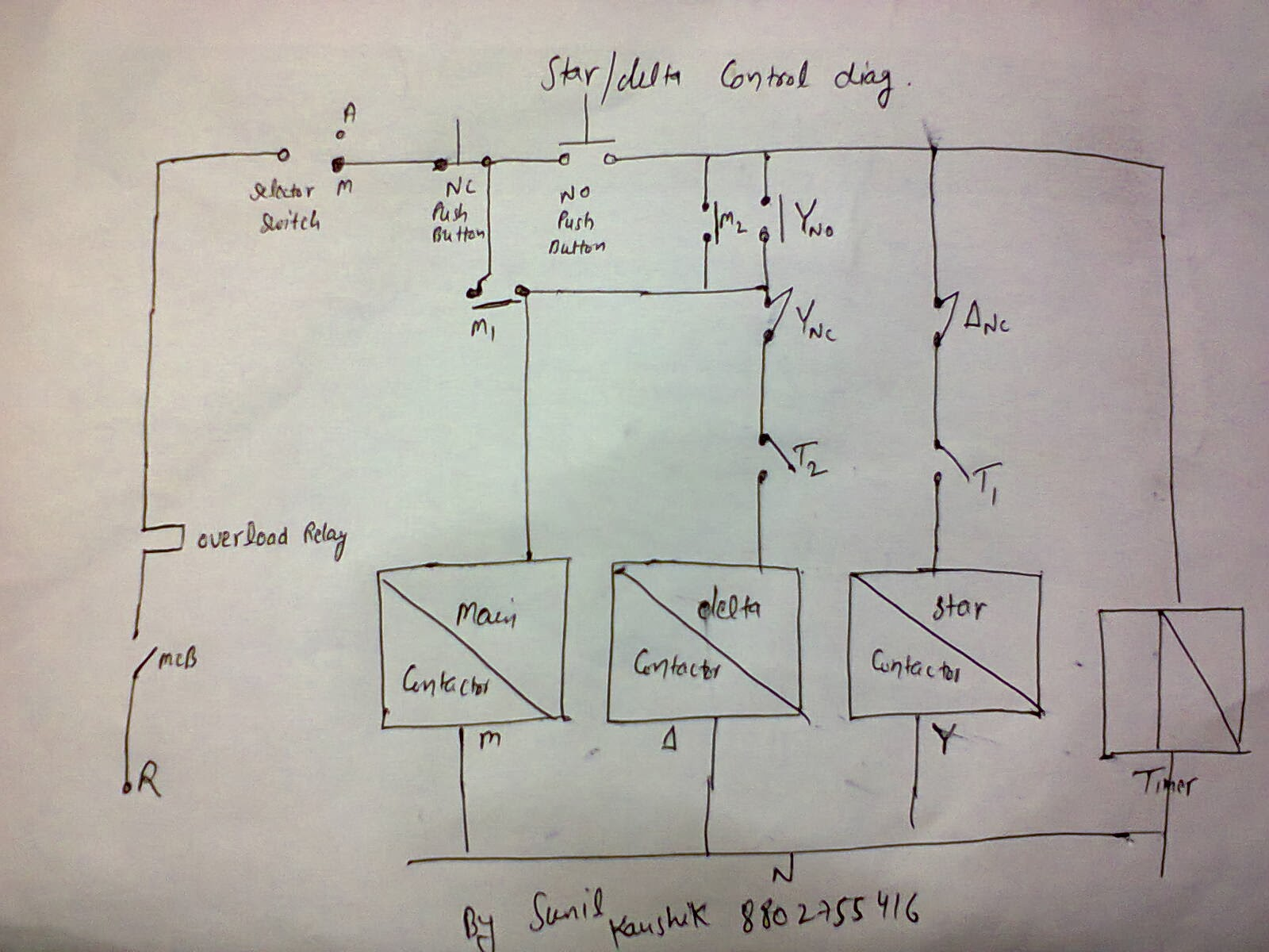 Star Delta Starter Control Wiring Diagram With Timer : Electrical and elecrtonic world star delta starter