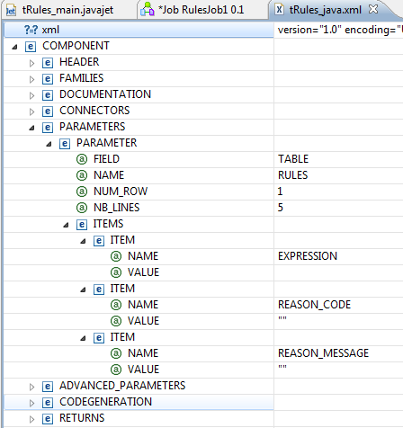 Bekwam Blog Component Field TABLE In Talend Open Studio - Open table rules