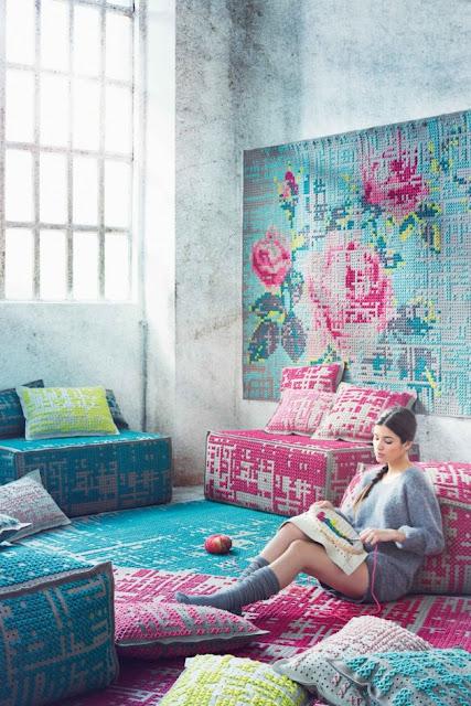 gestickte Teppiche, selbst in Rosenmuster - zum Selbermachen?