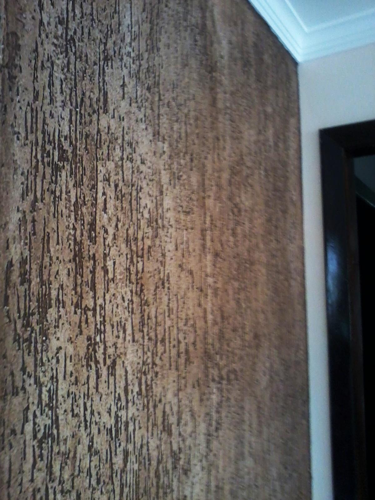 Grafiato com gel envelhecedor na cor tabaco #1F88AC 1200x1600 Banheiro Com Parede De Grafiato