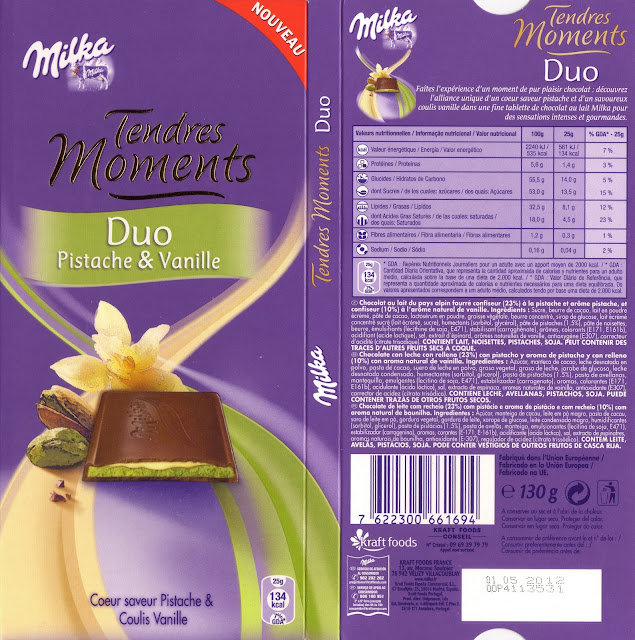 tablette de chocolat lait fourré milka tendres moments duo pistache & vanille