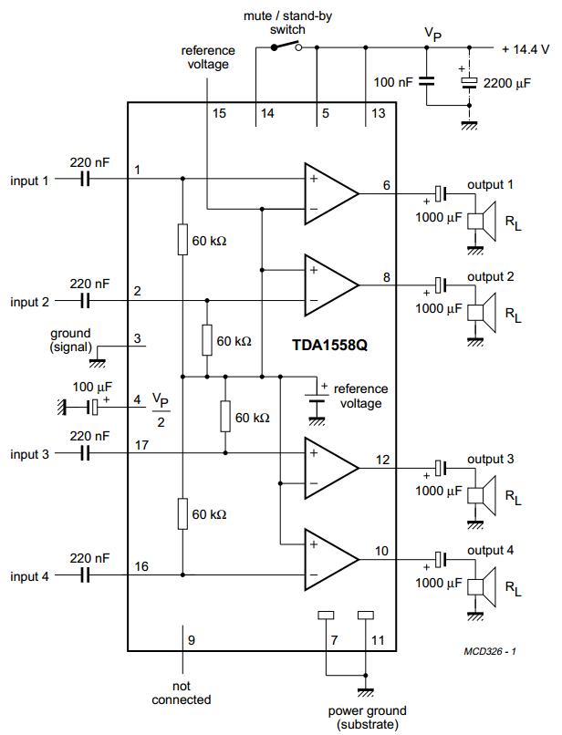 NEW Original Philips TDA1558Q 2 x 22W or 4 x 11W Single Ended Audio Amp IC