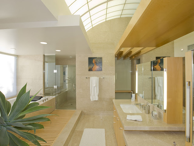 Picture of modern bathroom with wooden and marble furniture