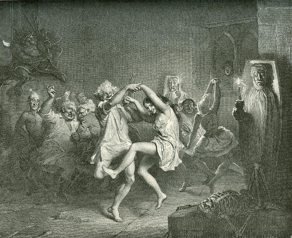 Witches and warlocks dance as Tam watches, by John Faed