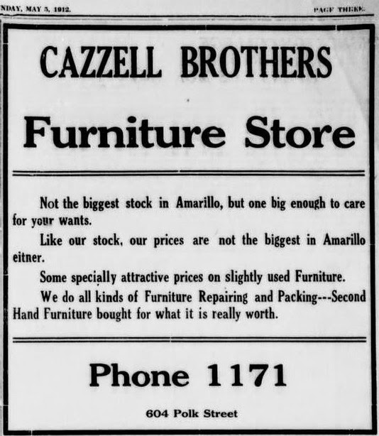 History Of Amarillo Texas Cazzell Brothers Furniture Store 1912