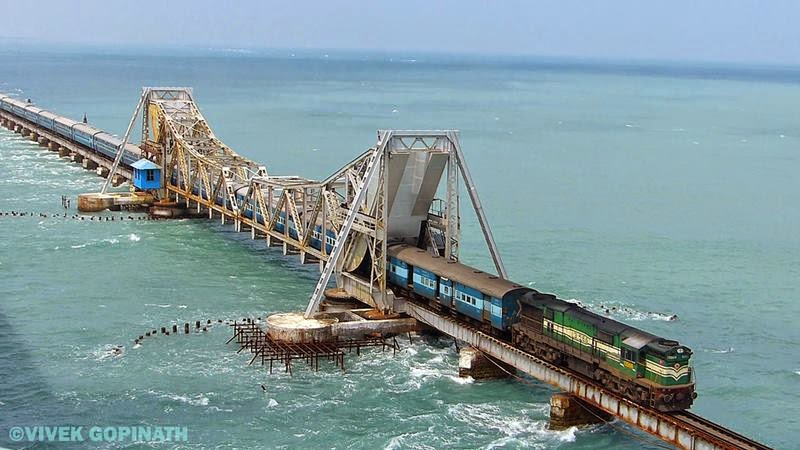 The legendary Boat Mail boud to Chennai Egmore treads the Pamban Bridge with utmost caution on a windy summers evening.
