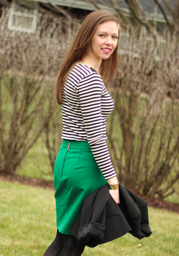 Stripes and Solid Green with Gold Accents | StyleSidebar