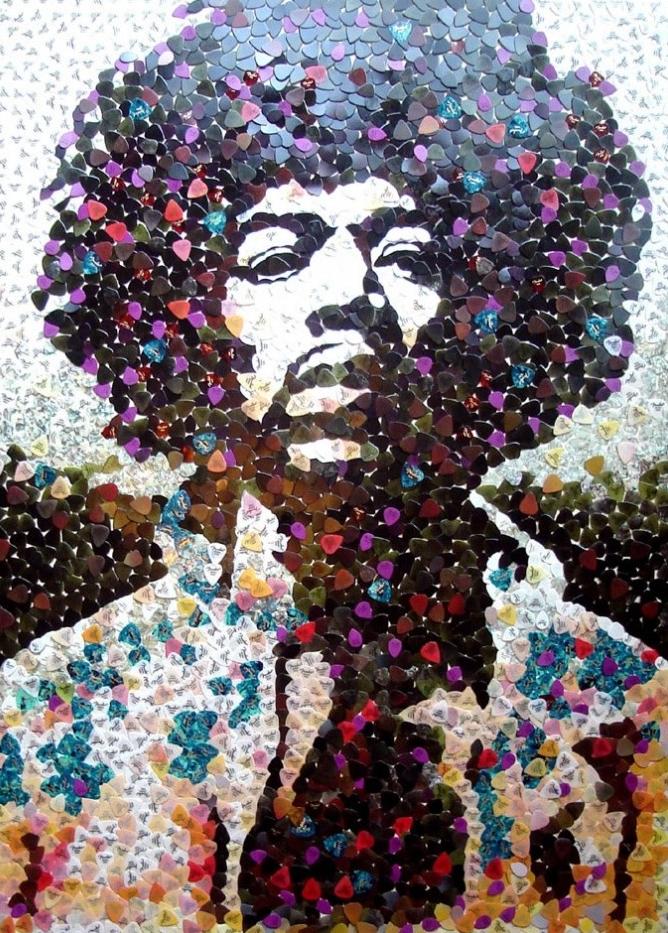 Hendrix em palhetas de guitarra