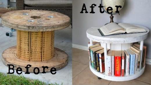 DIY Coffee Table And Bookshelf Made Of Cable Spool Diy Fun World