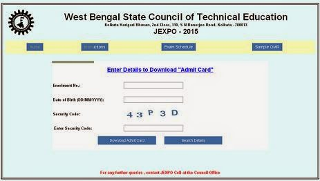 WBSCTE JEXPO 2015 Admit Card - Hall Ticket