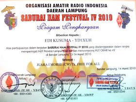 Piagam Pertama Lomba Free For All, Saburai Hamfest 2010