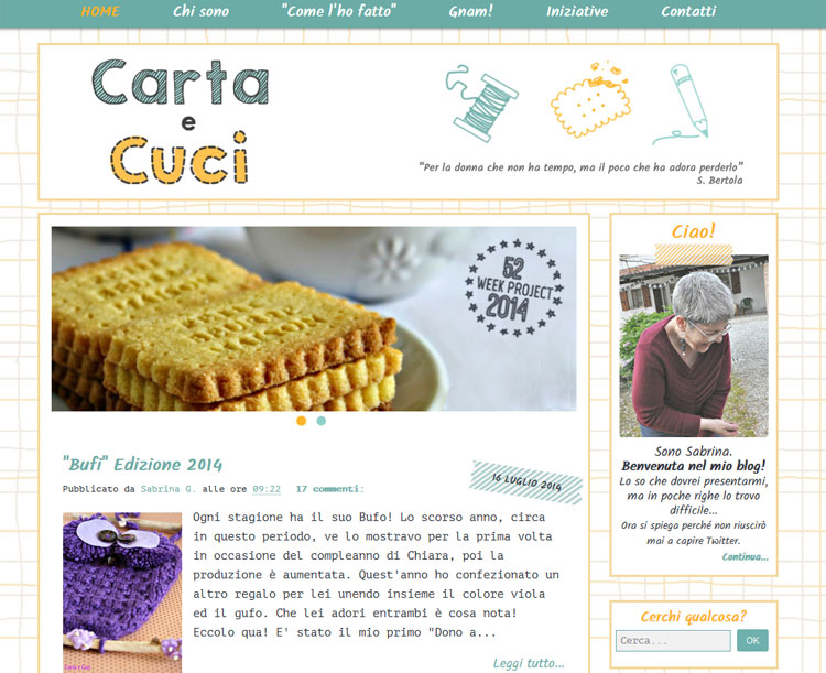 Blog Design for 'Carta e Cuci'