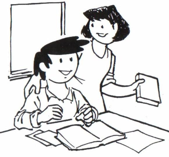 Colorear a un niño estudiando con su mamá - Portal Escuela