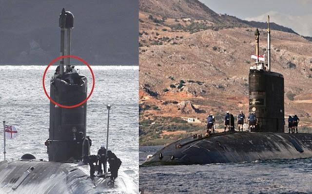 HMS Talent, se vio obligado a regresar el mes pasado debido a que sufrió daños después de golpear en el hielo