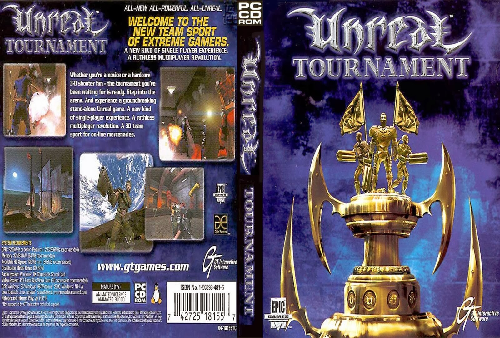 Unreal Tournament PC DVD Capa