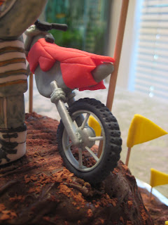 Motocross Dirt Bike Racing Cake - Close-Up Dirt Bike Back View