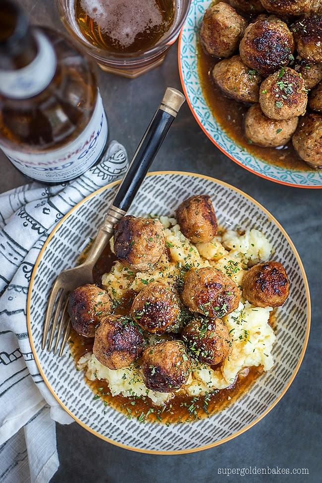 Herby pork meatballs in ale gravy