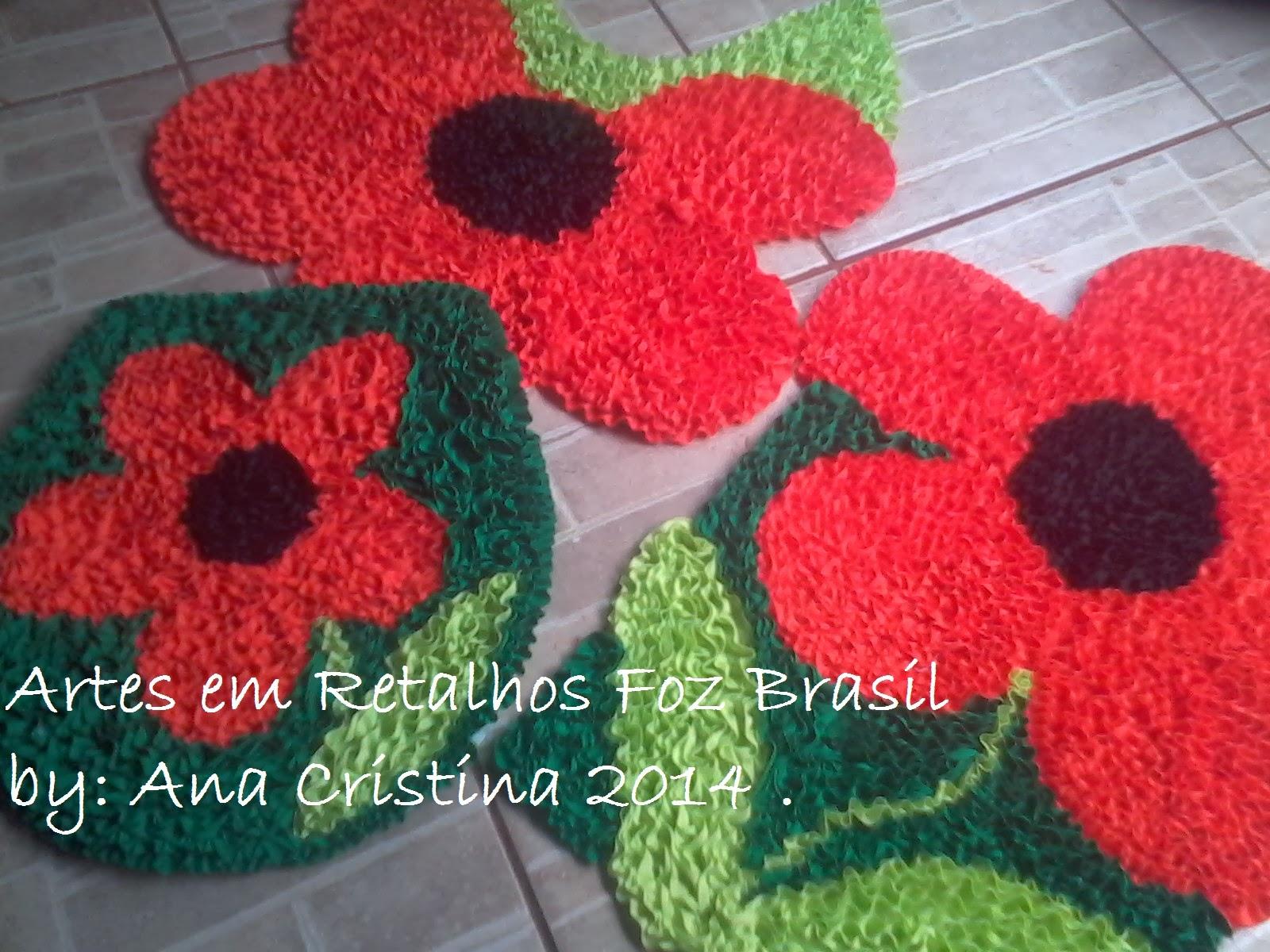 Arte Em Tapete De Retalho : ARTES EM RETALHOS FOZ BRASIL: Tapetes de frufru .Flores e joaninhas .