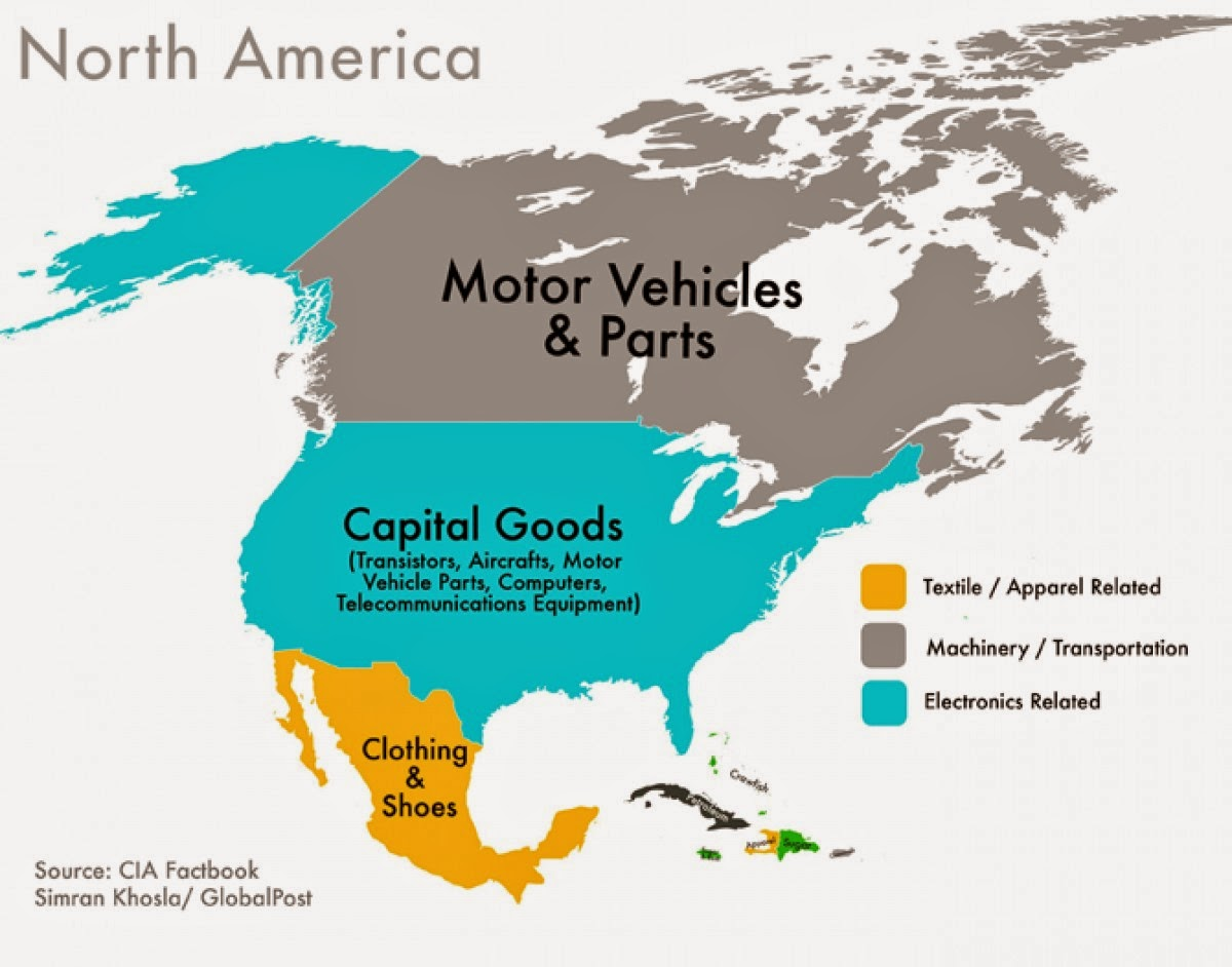 Every Country's Highest-Valued Export In Map north america