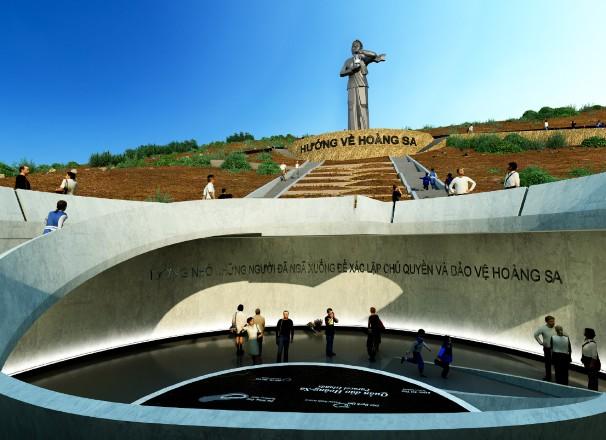 """Phối cảnh thiết kế Khu tượng đài """"Nghĩa sĩ Hoàng Sa""""."""