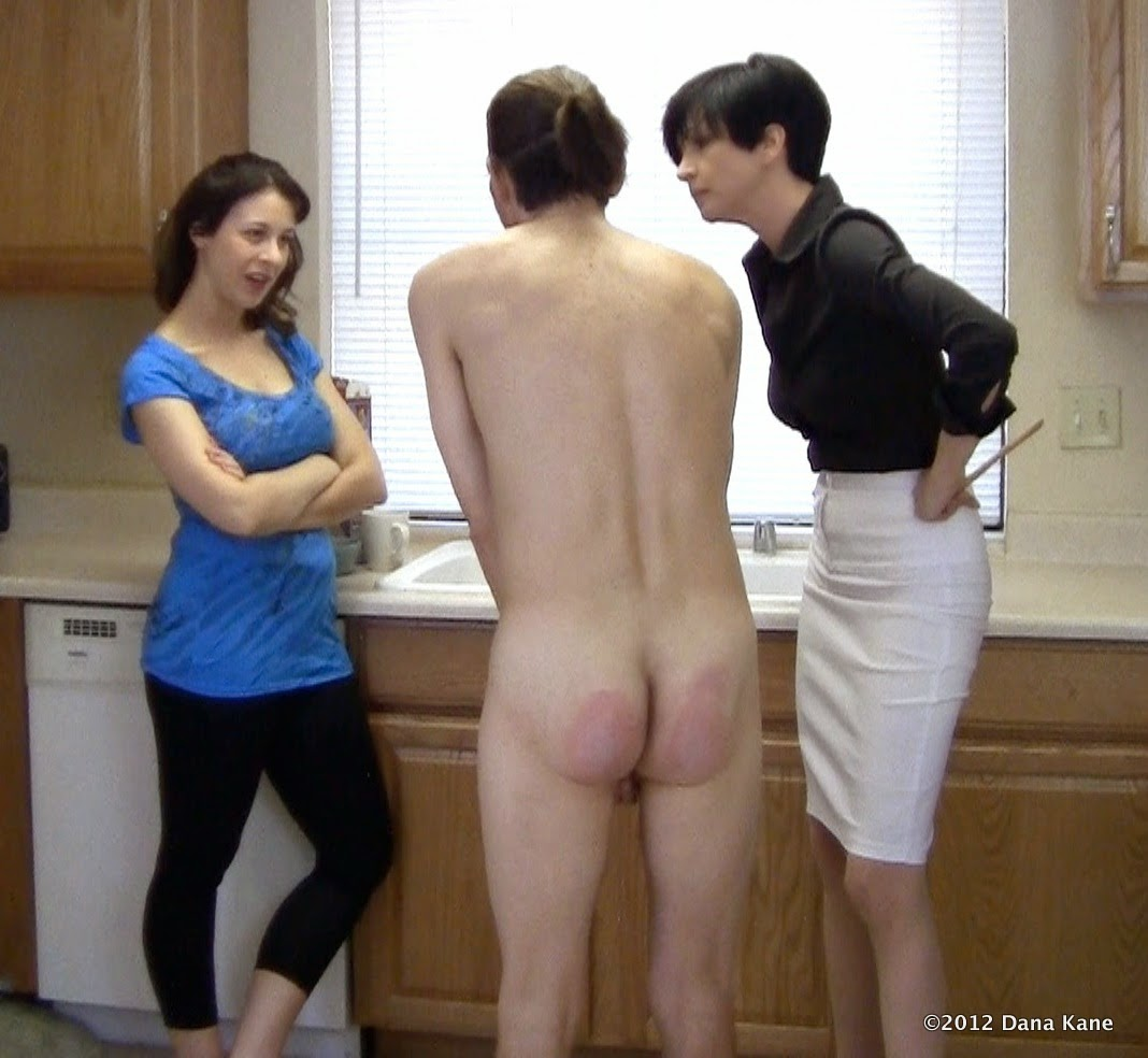 Two women strip boy spank