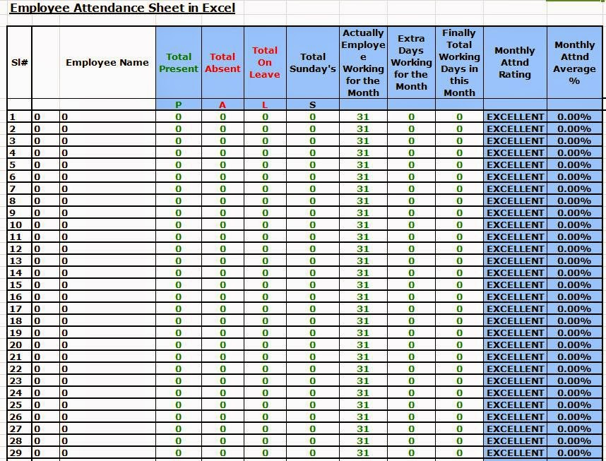 employee attendance sheet in excel free download