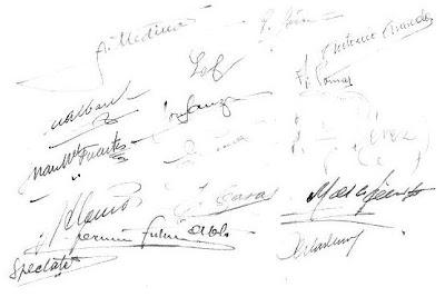 Firmas de los participantes en el Torneo Nacional de Ajedrez, celebrado en Madrid en 1943