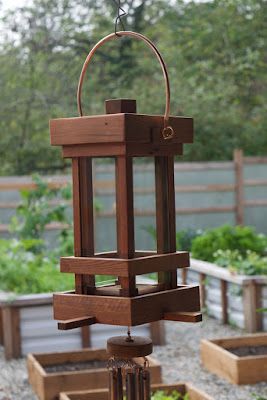 Beautiful Red Cedar and Copper Bird Feeder, Coast Chimes