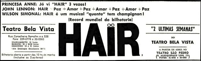 Musical Hair, 1970, década de 70, anos 70,