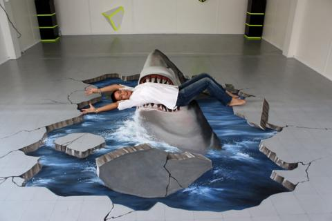 3D floor art and 3D flooring technology for living room