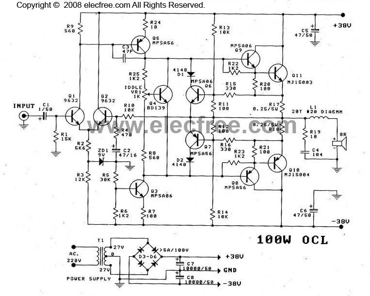 ocl power amplifier circuit mj15003 mj15004 collection schematic rh nicewiring blogspot com Audio Power Amplifier Circuit Audio Power Amplifier Projects