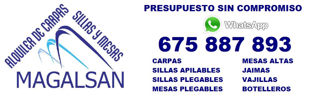 ALQUILER DE CARPAS SILLAS Y MESAS EN GRANADA